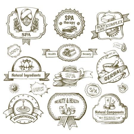 Etiqueta de la salud spa y salón de belleza bosquejo conjunto aislado ilustración vectorial