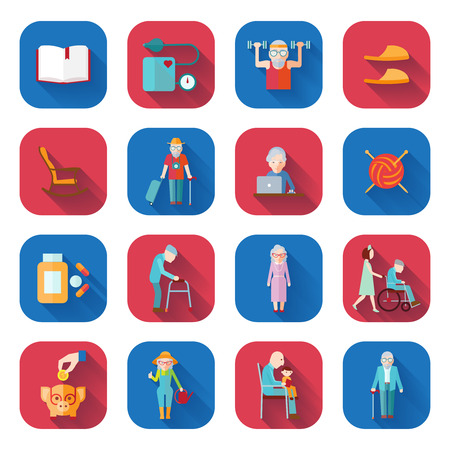 health elderly: Senior lifestyle flat icons set with walker pills wheelchair isolated vector illustration Illustration