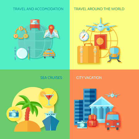 accomodation: Travel design concept set with accomodation sea cruises and city vacation flat icon set isolated vector illustration