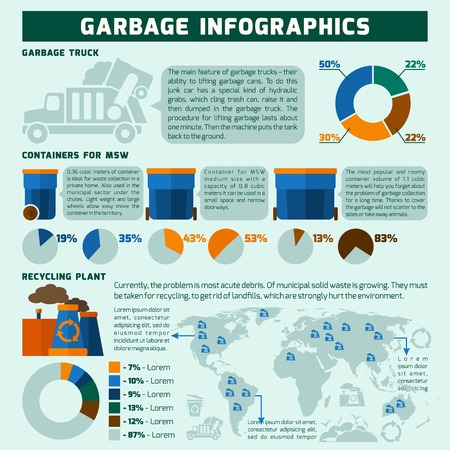 Garbage infographics set with trash recycling symbols and environmental pollution charts vector illustration Vector