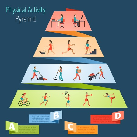 piramide humana: Actividad física infografía estilo de vida pirámide establecidas con las personas haciendo ejercicios del deporte ilustración vectorial Vectores