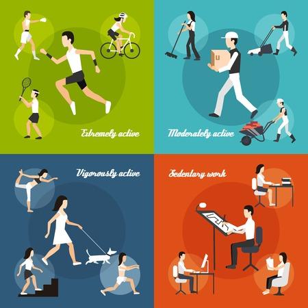 Körperliche Aktivität Designkonzept mit sitzender Tätigkeit flachen Icons isoliert Vektor-Illustration gesetzt