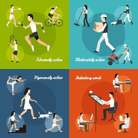 sedentario: La actividad f�sica concepto de dise�o conjunto con los iconos planos de trabajo sedentario ilustraci�n vectorial aislado