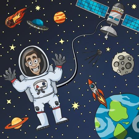 astronaut: Astronauta de dibujos animados en el espacio con la luna Tierra por sat�lite y platillo volador en el fondo ilustraci�n vectorial