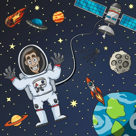 saucer: Cartoon astronaut in space with satellite moon earth and flying saucer on background vector illustration Illustration