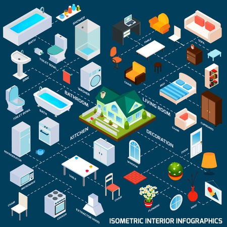 Isometric interior infographics with kitchen living room and bathroom 3d elements vector illustration Illustration