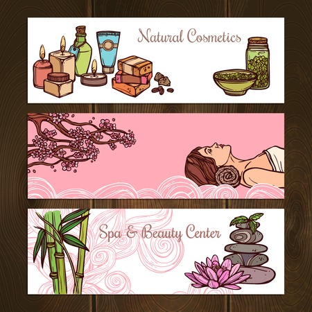 beauty center: Spa beauty center natural cosmetics sketch horizontal banners set isolated vector illustration