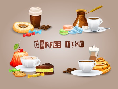 Coffee decorative icons set with drink and sweet desserts isolated vector illustration