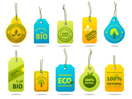 bio fuel: Ecology bio fuel natural organic products cardboard labels set with isolated vector illustration