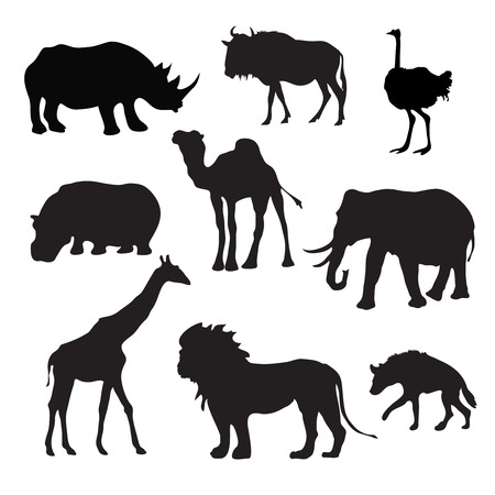 giraffe silhouette: Wild african animals black silhouettes set with buffalo hippopotamus giraffe isolated vector illustration