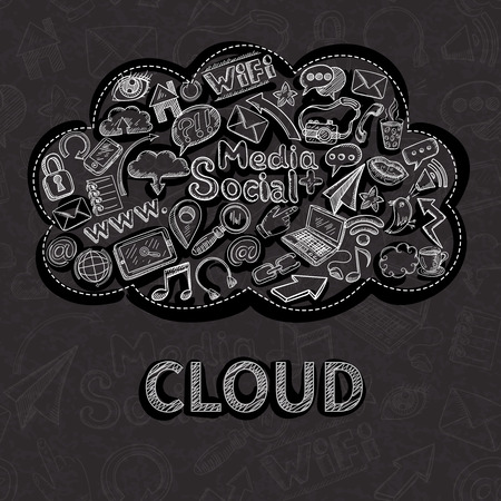 social communication: Social communication background with chalkboard doodle icons in cloud vector illustration Illustration