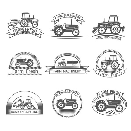 farm tractor: Tractor driver farm and construction machinery label set isolated vector illustration