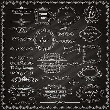 Calligrafici decorativi d'epoca elementi di design bordi e cornici set lavagna illustrazione vettoriale