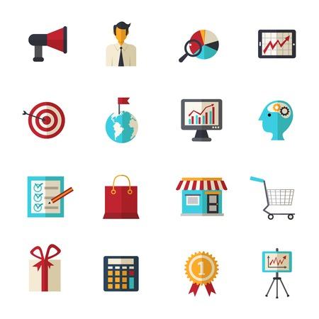 business support: Marketingstrategie bedrijfsondersteuning en creatief vlak pictogrammen instellen geïsoleerde vector illustratie
