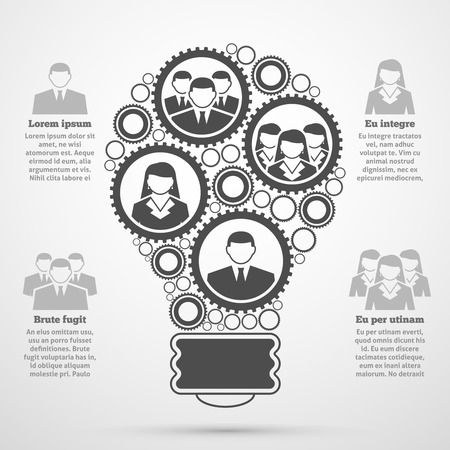 factors: Business management team efficient composition man woman percentage bulb diagram  infographic presentation poster black abstract vector illustration