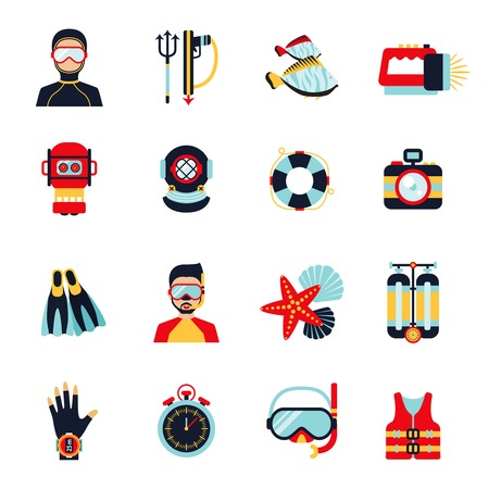 Diving sport icons set with helmet camera lifebelt watch isolated vector illustration Vector