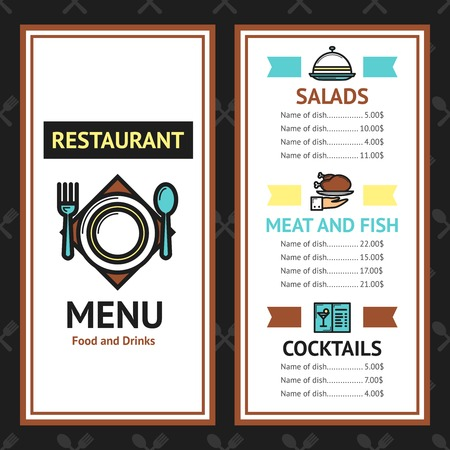 coffee background: Restaurant menu template with salads meat fish dishes and cocktails vector illustration Illustration