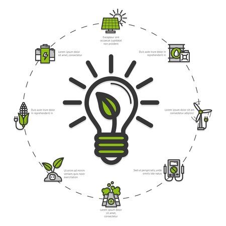 Grüne Energie-Konzept mit umweltfreundlichem Strom Symbole gesetzt Vektor-Illustration Standard-Bild - 38303183