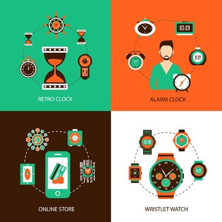 wristlet: Clock design concept set with retro alarm wristlet watch online store flat icons isolated vector illustration Illustration