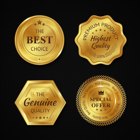 Golden metal best choice premium quality badges set isolated vector illustration