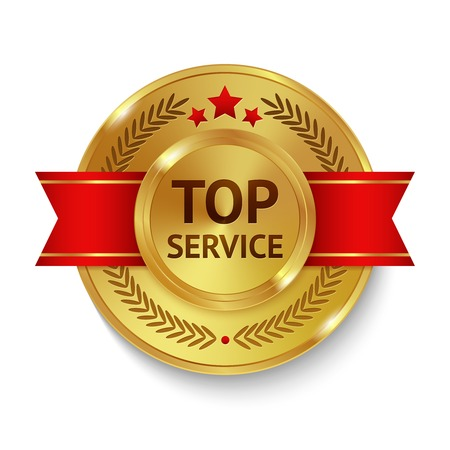 good service: Gold metal top service badge with red ribbon and decoration vector illustration