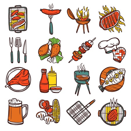 meat on grill: Bbq grill colored decorative icons set with barbeque and cooking utensil isolated vector illustration