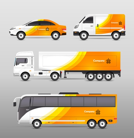 outdoor advertising: Transport advertisement design with cars bus and trucks in orange abstract identity isolated vector illustration