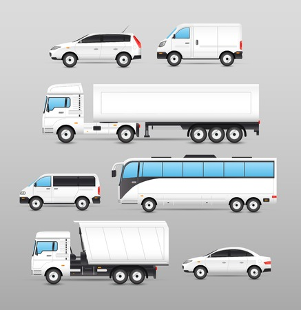 refrigerated: Realistic transport icons set with car van bus truck isolated vector illustration