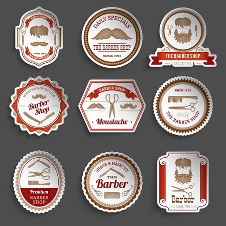 barber: Barber shop paper stickers haircut and hairdresser accessories set isolated vector illustration Illustration