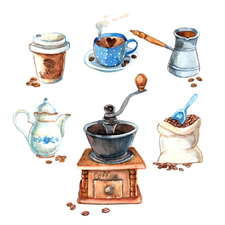 Decorative vintage hand drawn watercolor coffee set with  milk can cezve and beans grinder print vector illustrationŒ