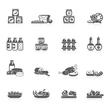 food market: Supermarket food grocery market icons black set with sweets fish fruits isolated vector illustration