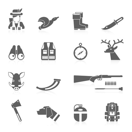 deer hunting: Hunting icon black set with vest horn rifle flask isolated vector illustration