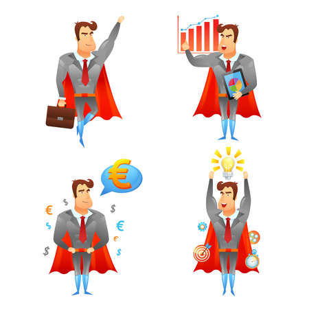 allegoric: Superhero allegoric  strong energetic businessman cartoon character with red cape 4 icons set  abstract vector isolated illustration