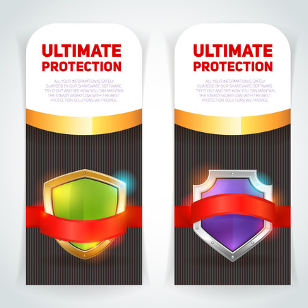 ultimate: Ultimate protection escutcheon shield in golden frame emblem logo vertical banners set color abstract vector isolated illustration