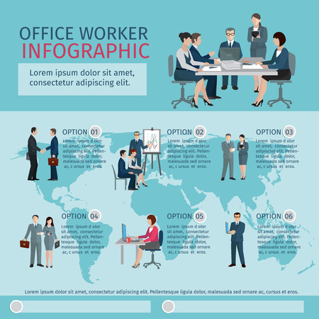 design office: Office worker infographics set with business teamwork workflow symbols vector illustration