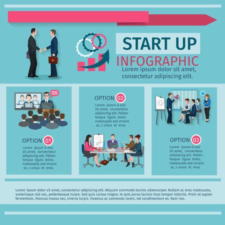 master page: Conference infographics set with business start up symbols vector illustration Illustration