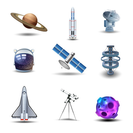 space rocket: Space decorative icons set with asteroid spaceman helmet rocket isolated vector illustration