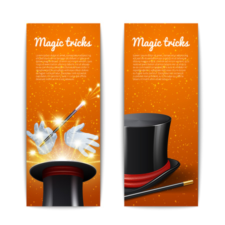 Magic trick vertical banners set with magician cylinder stick and gloves isolated vector illustration