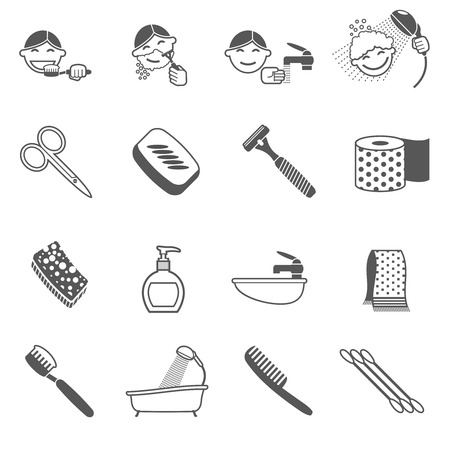 personal care: Personal hygiene icons black set with hairbrush scissors razor paper towel isolated vector illustration