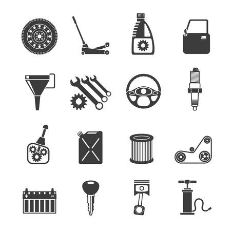 black block: Sistemas de automóviles de servicio Auto iconos conjunto negro ilustración vectorial aislado