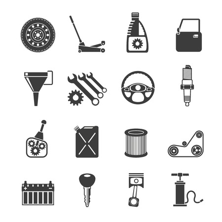 Auto service automobile systems icons black set isolated vector illustration Illustration