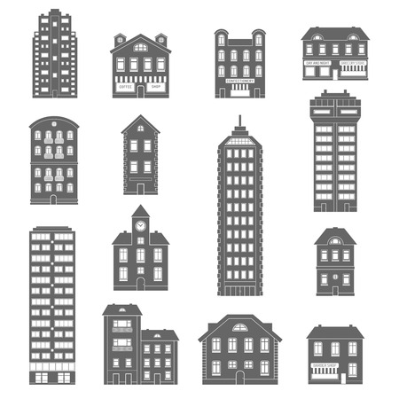 Urban and suburb house and office buildings decorative icons black set isolated vector illustration