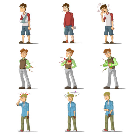 stomach ache: Medicine disease man flat characters set with influenza sneezing nosebleed illness isolated vector illustration. Illustration