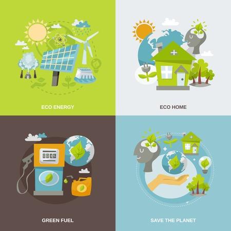Eco energy concept set met geïsoleerde groene brandstof planeet huis vlakke pictogrammen vector illustratie