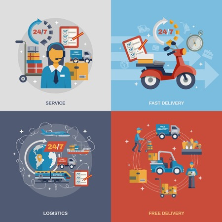 package delivery: Delivery design concept set with fast free logistic service flat icons isolated vector illustration