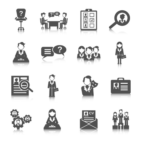 find staff: Human resources business staff search icon black set isolated vector illustration Illustration