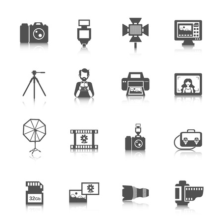 Photography icons black set with digital photo camera equipment isolated vector illustration Vector