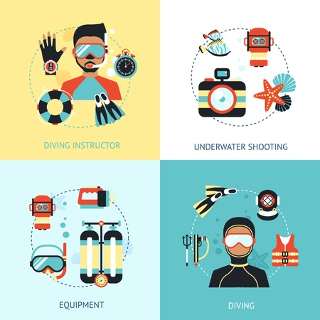 deep water: Diving design concept set with instructor euipment underwater shooting flat icons isolated vector illustration