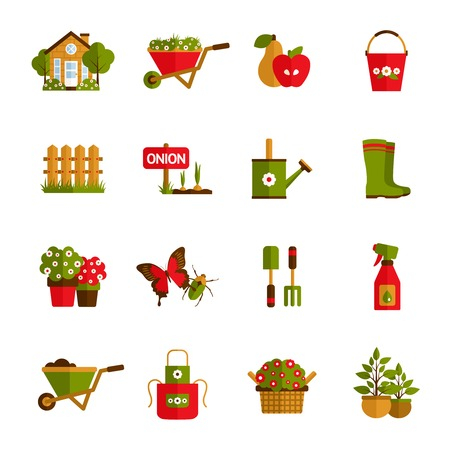 plants growing: Gardening icons set with farm house wheelbarrow fruit harvest and water pot isolated vector illustration