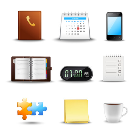 Realistic time management icons with notebook calendar schedule coffee cup isolated vector illustration Vector